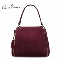 2018 Brand New Women Real Suede Leather Shoulder Bag Fashion Leisure Doctor Handbag For Female Girls Top handle Bags Sac A Main