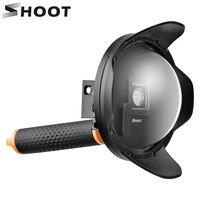 ATEŞ 2.0 6 inç Dome Port Için GoPro HERO 4 3 + siyah Gümüş Eylem Kamera ile Şamandıra Kavrama GoPro için Su Geçirmez Kılıf aksesuarları