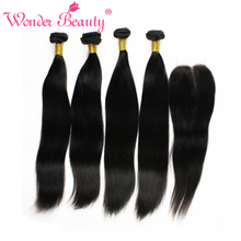 Unprocessed Indian Virgin Hair With Closures Straight 4 bundles With Lace Closures 100 Indian Human Hair