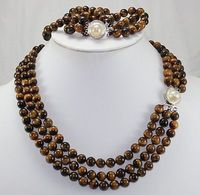 Nobility Lucky women's Design Natural 6MM Tiger Eye Stone Brecelet & 17 19CM Necklace 43 50CM Jewelry Set Silver hook