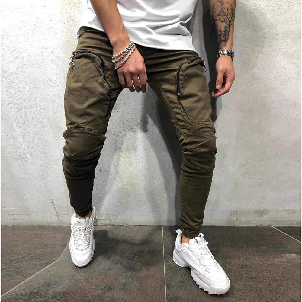 2019 Men Pants Fashion Zipper Decoration Splicing Harem Joggers Pants New Male Trousers Solid Pants Sweatpants Plus size M-XXXL