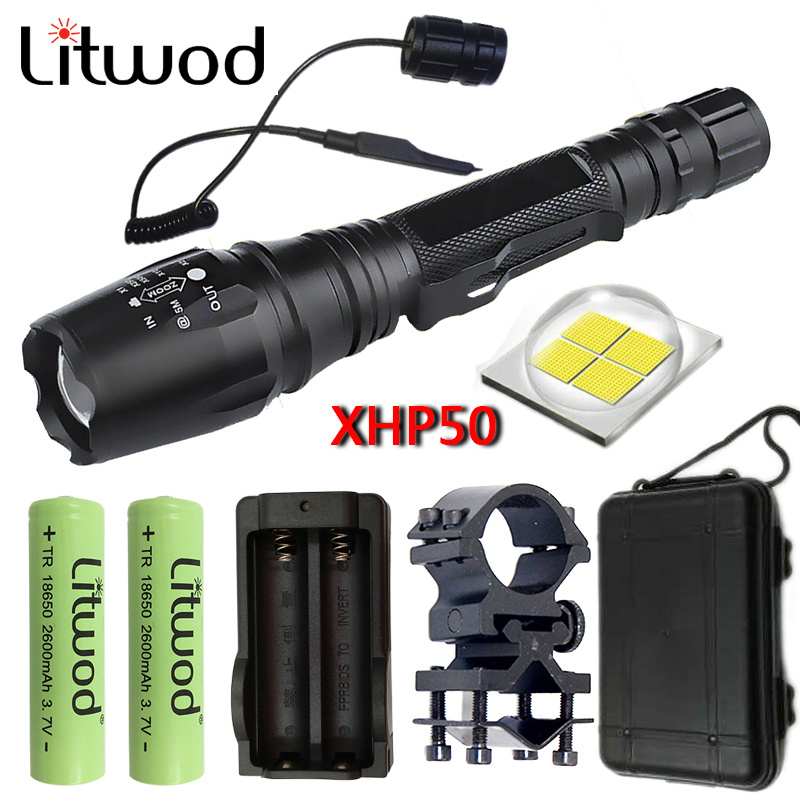 Litwod Z20V5 CREE XHP50 Tactical LED Flashlight Torch 8000lm Zoomable Power 2x18650 battery powerful flashlight for huntingLitwod Z20V5 CREE XHP50 Tactical LED Flashlight Torch 8000lm Zoomable Power 2x18650 battery powerful flashlight for hunting