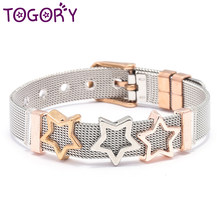 TOGORY Jewelry Silver Rose Gold Color Mesh Keeper Bracelets With Crystal Star Slide Charms Bracelets for Women Corple Gift(China)