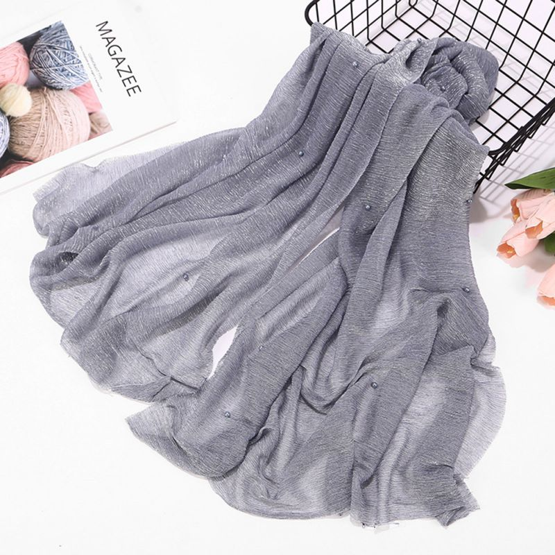 2019 Hot Ethnic Oversize Muslim Crinkle Hijab Head Scarf Women Solid Bubble Cotton Shawls And Wraps Soft Big Linen Foulard Femme