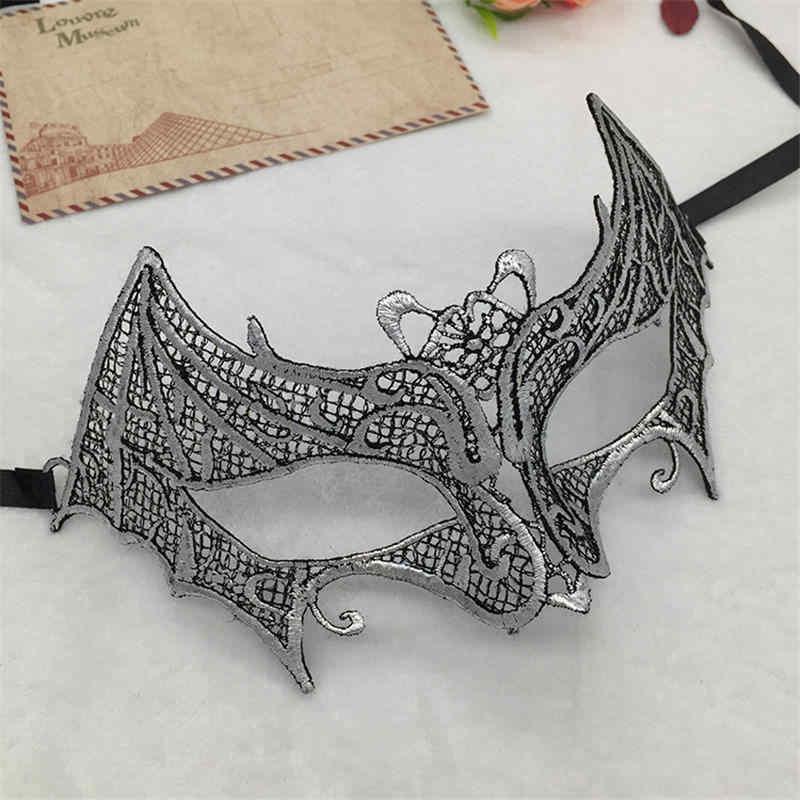 Máscara de encaje mascarada Sexy de mujer de estampado caliente de plata para carnaval de Halloween baile de graduación media cara máscara recortada para ojos #35