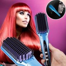 Women Tourmaline Ceramic Anion Hair Straightener Brush Hair Straightening Curling Comb Home Hair Styling Tools EU/ US/UK Plug