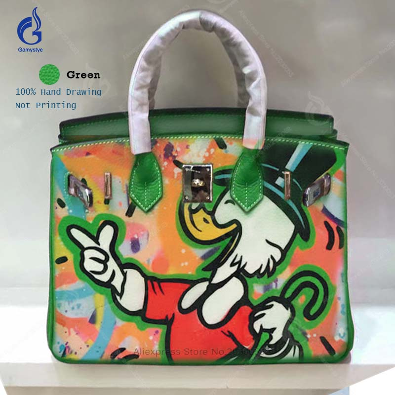 Gamystye Hand Painted ALEC Graffiti Pop Art Duck Women Bags High Quality Genuine Leather Handbags Big Top Handle Casual Totes Y art hand printed bags for women 2018 100% genuine leather top handle bags high capacity vintage casual totes togo leather bag y