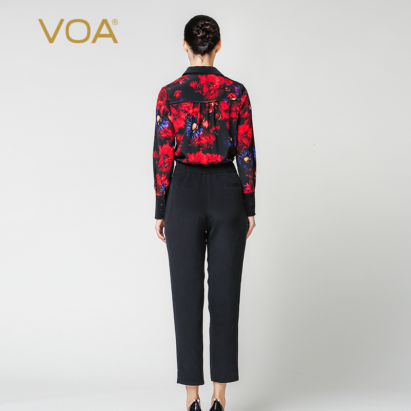 VOA Zijde Jumpsuit combinaison femme enteritos largos de mujer Elegante Jumpsuits Harembroek Lange Mouw Dames Streetwear K6360 - 2