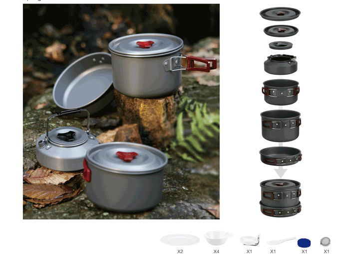 4-5 Person Cooking Pot Camping Cookware Outdoor Pots Sets Non-Stick Cookware FMC-209 цена в Москве и Питере