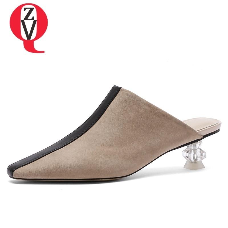 Mode Sexy Au Maulesel Neue Karree Mischfarben Stil Schuhe erhalb Aprikosegr Med Plus Hausschuhe Seltsamen Frauen Gre Sommer Zvq QBhrCtdxs