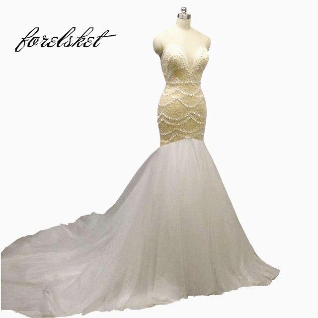 Luxury Crystal Mermaid Wedding Dresses 2017 Sweetheart Bridal Gown Soft Tulle Hand Made Beading Custom
