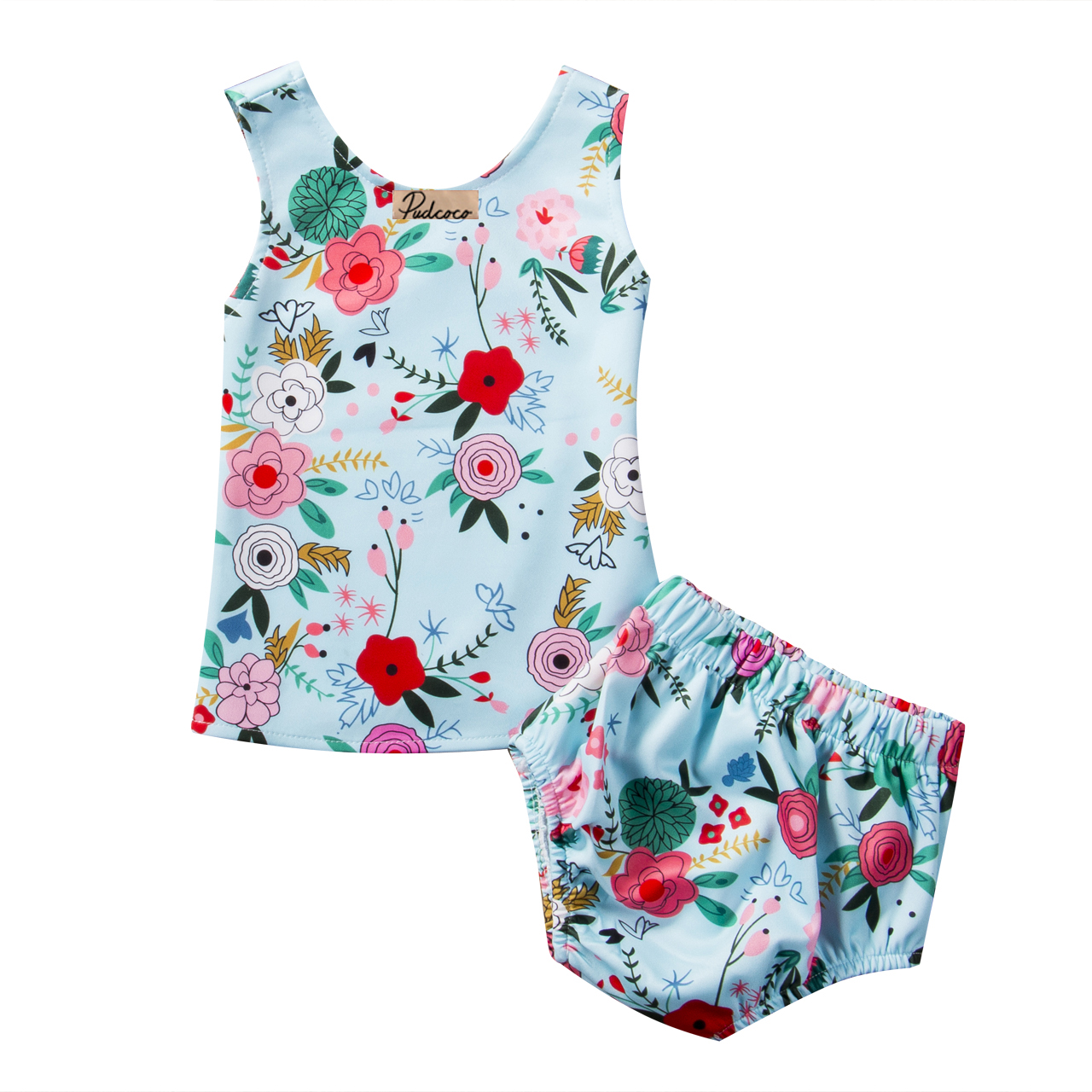 Pudcoco Summer Cotton Floral Newborn Baby Girls Clothes O-Neck Sleeveless Tops Shorts Pants Outfits Set 0-24M 0 24m floral baby girl clothes set 2017 summer sleeveless ruffles crop tops baby bloomers shorts 2pcs outfits children sunsuit