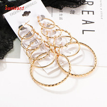 SunWard Women Personality Super Big Circles Earring 5Pairs/set Vintage Silver Gold Earrings Different Size