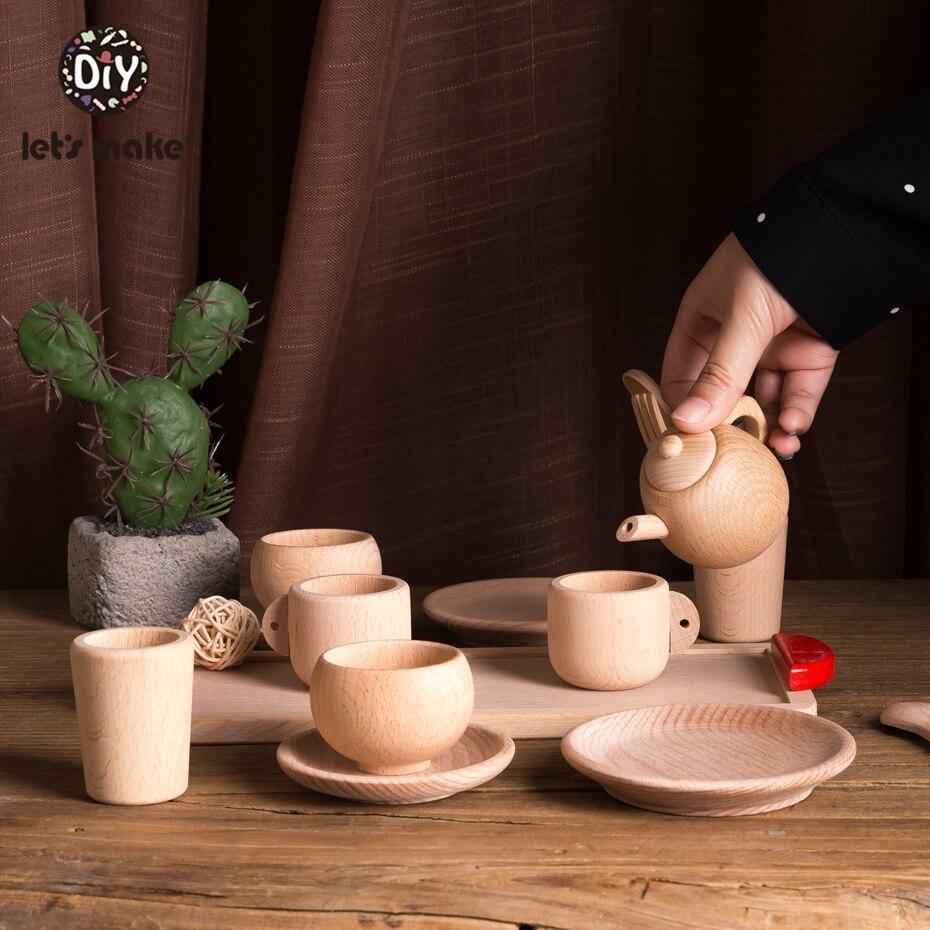 Faisons semblant de jouer ensemble de thé en bois activité éducative saisir développement Montessori bambin jeu Waldorf jouets inspirés