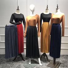 2017 nouveau style jupe plissée musulman dubaï arabe longue jupe en mousseline de soie maxi soirée cocktail maxi robe