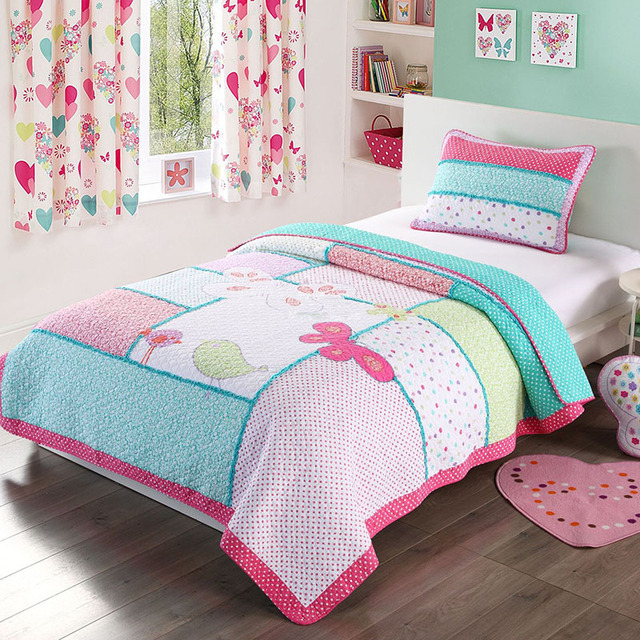 Kids Quilt Set 2pcs Bird Embroidered Bedspread Bed Covers Applique