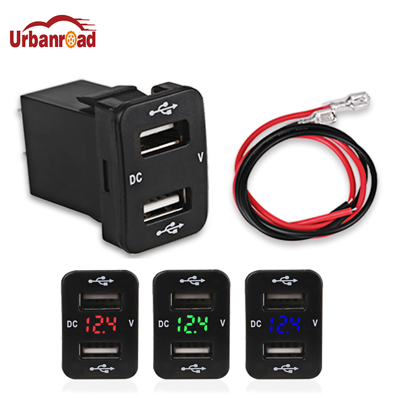 Urbanroad Dual Usb Car Charger For TOYOTA 12v 24v 4.2A 2 Port Auto Power Adapter Socket For Iphone for Sumsang Car Styling