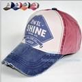 Lovers vintage denim color block decoration hat edging color block sunbonnet male  casual baseball cap