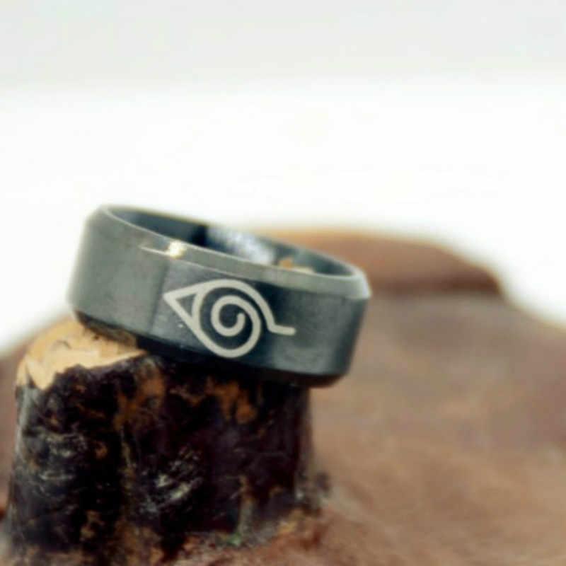 8mm geborsteld Naruto Konoha teken 316L Rvs Ring Zwarte vinger ringen mannen vrouwen groothandel