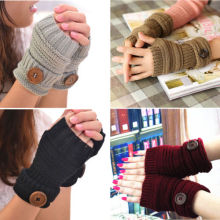 Chic Women Winter Wrist Arm Hand Warmer Knitted Long Fingerless Gloves
