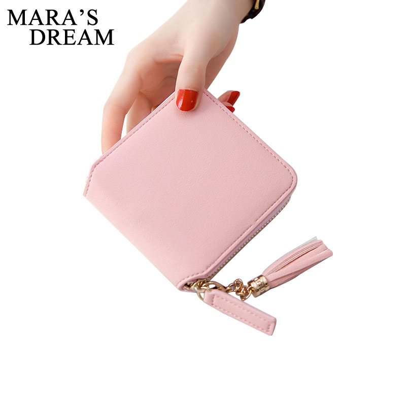 Mara's Dream 2017 Korean Style Cute PU Leather Slim Mini Zipper Wallet Women Small Fold Clutch Female Purse Coin Card Holder dollar price women cute cat small wallet zipper wallet brand designed pu leather women coin purse female wallet card holder