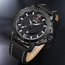 Фотография NAVIFORCE Luxury Brand Men Military Sport Watches Men Analog Quartz Clock Leather Waterproof Wrist Watch relogio masculino 9122