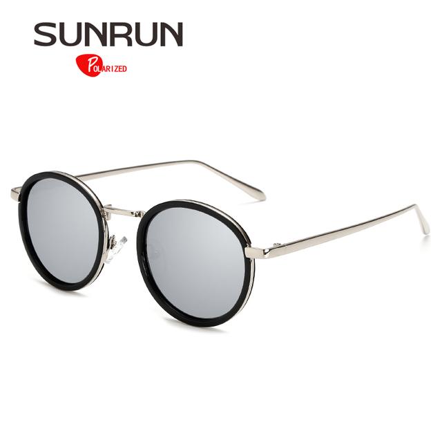 SUNRUN Поляризованные Очки Женщины Круглый Винтаж Солнцезащитные Очки Зеркало óculos de sol женщина для 17028