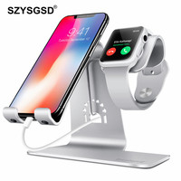 2 in 1 Metal Charger Stand For iPhone Samsung Smartphones Holder Station For Apple Watch 4 3 2 Charging Dock Station for iPad