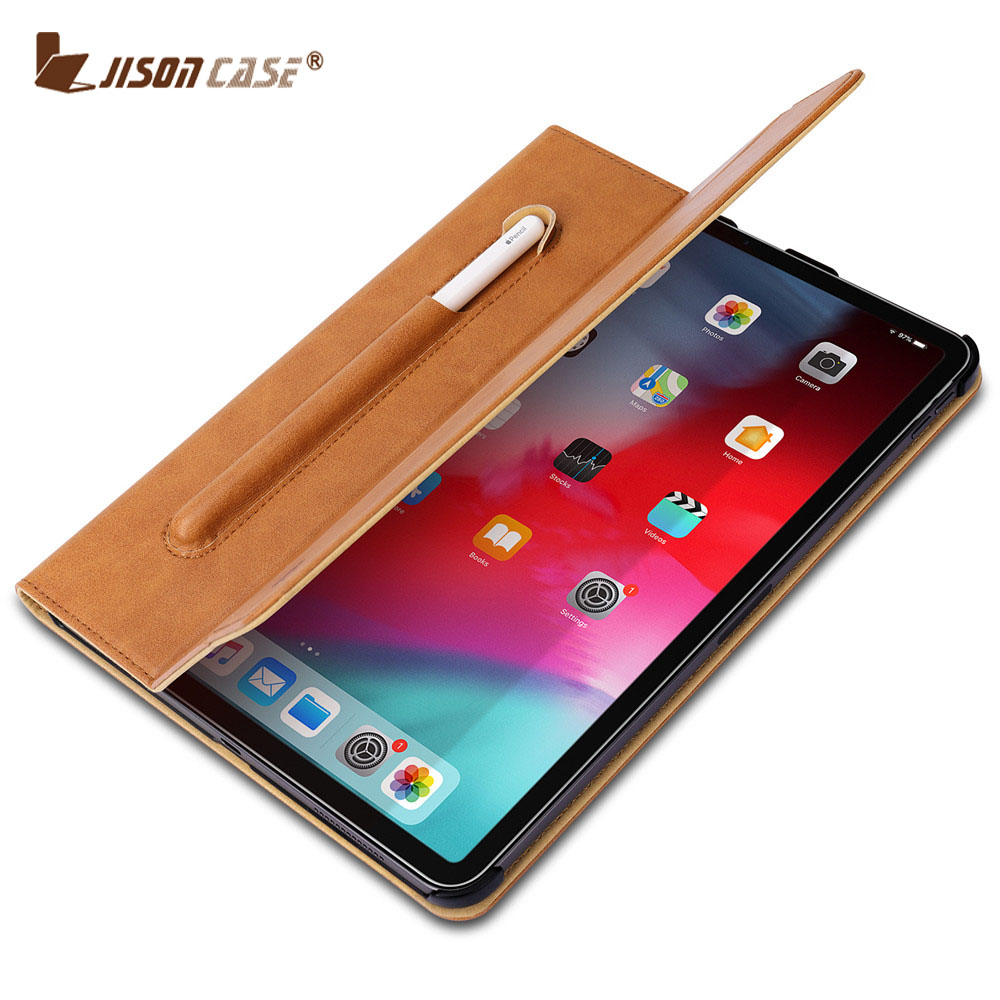 Jisoncase Smart Cover for iPad Pro 11 inch Microfiber Tablet Case with Pencil Slot for iPad Pro 11 inch 2018 New Business Style in Tablets e Books Case from Computer Office