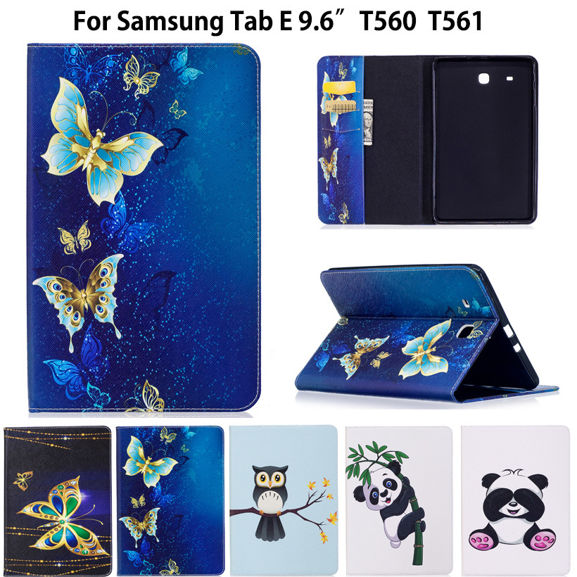 Fashion Animal Flip PU Leather sFor Samsung Galaxy Tab E 9.6 Case For Samsung Galaxy Tab E T560 SM-T560 T561 Smart Cover Cases stylish butterfly pattern flip open pu leather case for samsung galaxy ace 2 i8160 multicolored