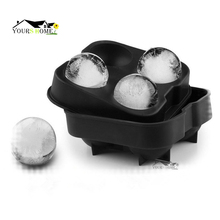Round Ice Ball Maker Mold - Black Flexible Silicone Tray Molds 4 X 4.5cm Sphere