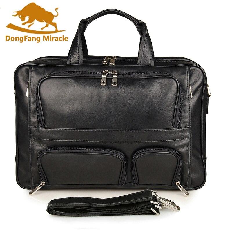 Genuine Leather Men's Briefcase Laptop Bag Big Size Business 17 inch computer bag Travel Bags Cowhide Tote Crossbody Handbags