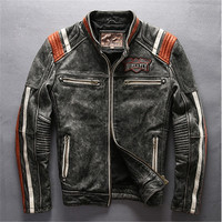 Male Asian size mans genuine cow leather rider jacket vintage embroidery leather motorcycle cowhide leather Silm Fashion jacket