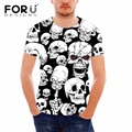 FORUDESIGNS t Shirt Men Clothes Many Skull Heads Pattern T Shirt for Male Harajuku Style Short Sleeve Tops Tee Comfort Top Shirt