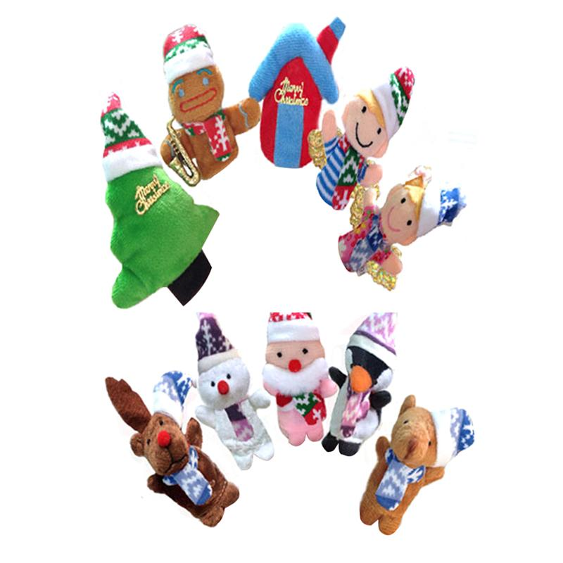 10pcs Finger Puppet Plush Toys on Fingers Educational Hand Puppets Toy Story Time Shows Playtime Schools Christmas Gift for Kids