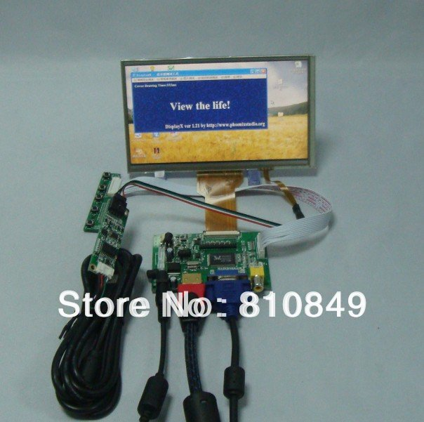 HDMI/VGA/2AV+Reversing Driver board + 7inch AT070TN92 800*480 with touch panel vga 2av revering driver board 8inch 800 600 lcd panel ej080na 05b at080tn52