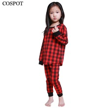 Здесь можно купить   COSPOT Kids Christmas Pajamas Set Baby Boys Girls Red Plaid Suit Children X