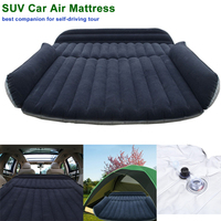 SUV Car Air Mattress Travel Bed Back Seat Cover Inflatable Blow Up Cushions Single Flocking Surface
