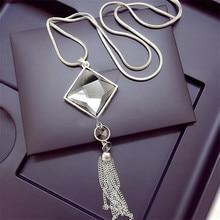 Lemon Value Fashion Triangle Crystal Glass Tassels Pendants Vintage Punk Statement Maxi Long Necklaces Women Jewelry Gift TP041
