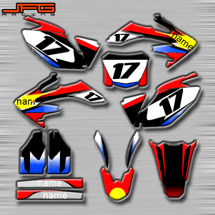 Motorcycle Customized Graphics Background Decals Stickers Kits For Honda CR125 CR250 CRF250R CRF450R CRF450X CRF250X XR250 XR400 цена