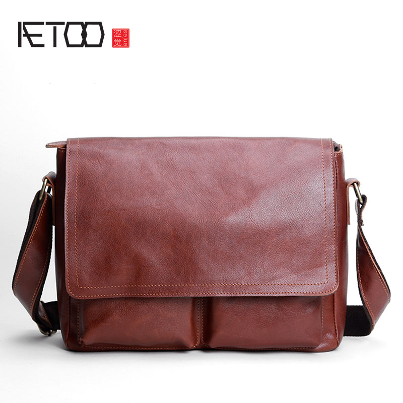AETOO Original men's first layer of leather oblique bag men's leather shoulder bag casual bag qiaobao 2018 new korean version of the first layer of women s leather packet messenger bag female shoulder diagonal cross bag