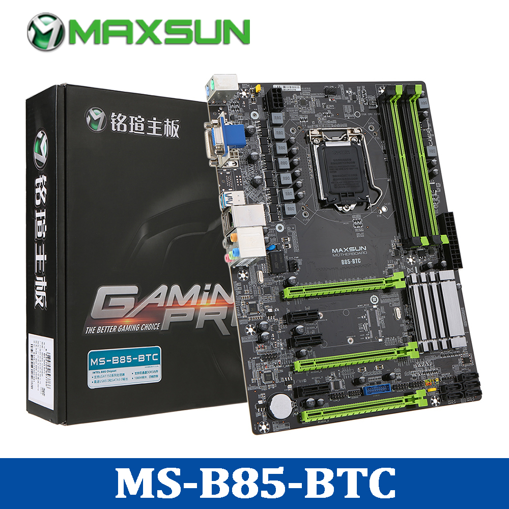 hight resolution of maxsun ms b85 btc motherboard inter b85 systemboard lga1150 ddr3 1600mhz dual channels memory mainboard for miner mining desktop in motherboards from