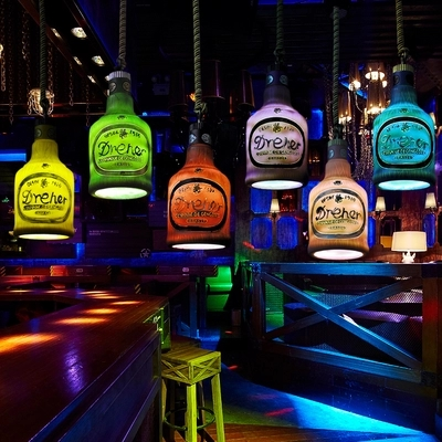 Creative chandelier Cafe Bar Bar Restaurant Lounge KTV single-headed personality retro bottle decorative lamps стоимость