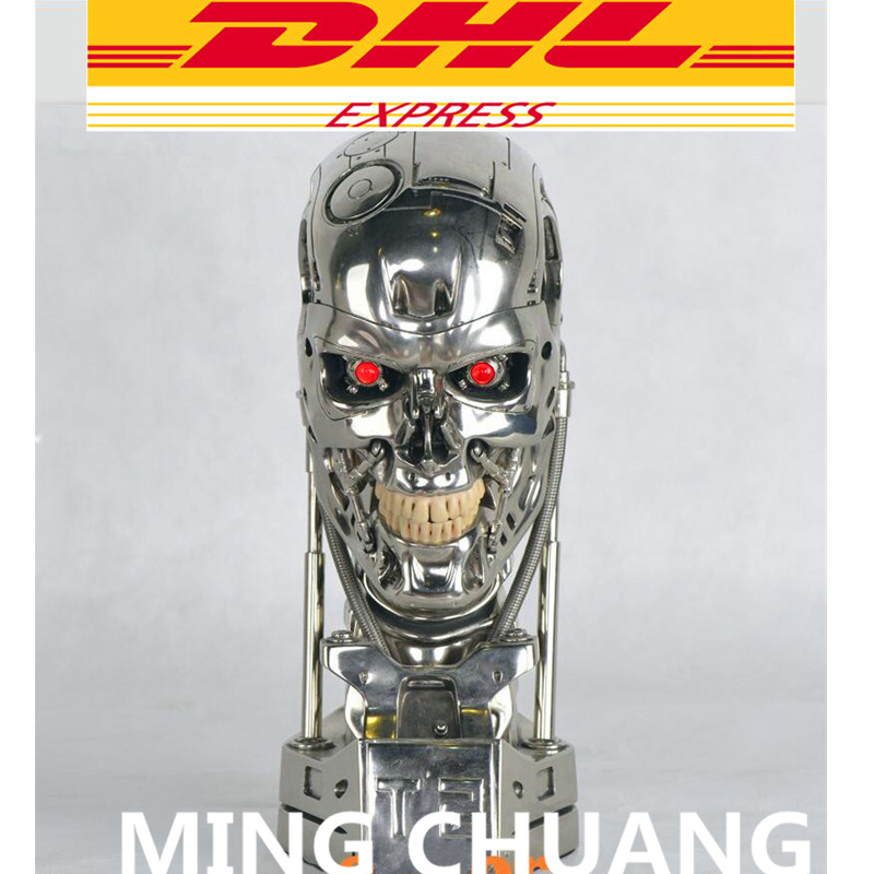 Crânio Endoesqueleto Terminator Arnold Schwarzenegger T800 1:1 Estátua T2 Lift-Tamanho do Busto OLHO LED Melhor Qualidade Figura de Ação da Resina