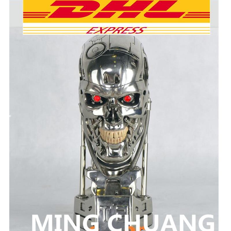 Terminator T800 1:1 Statue Arnold Schwarzenegger T2 Skull Endoskeleton Lift-Size Bust LED EYE Best Quality Resin Action Figure