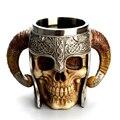 UPORS Viking Schädel Becher Edelstahl Kaffee Becher Mittelalterlichen Burg Herr Ritter Skeleton Krug Tasse für Bier Wein Halloween Geschenke-in Tassen aus Heim und Garten bei