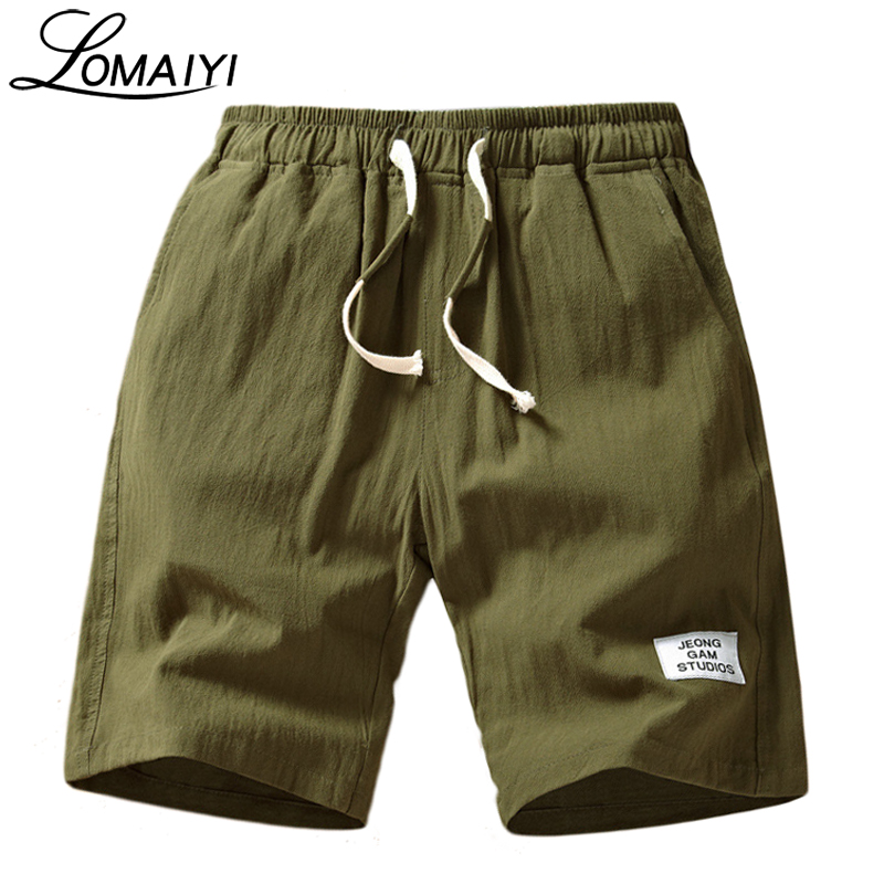 LOMAIYI Healthy Stretch Linen Men's Shorts Men Women Hemp Cotton Casual Straight Short Male Slim Short Flax Beach Shorts,BM202