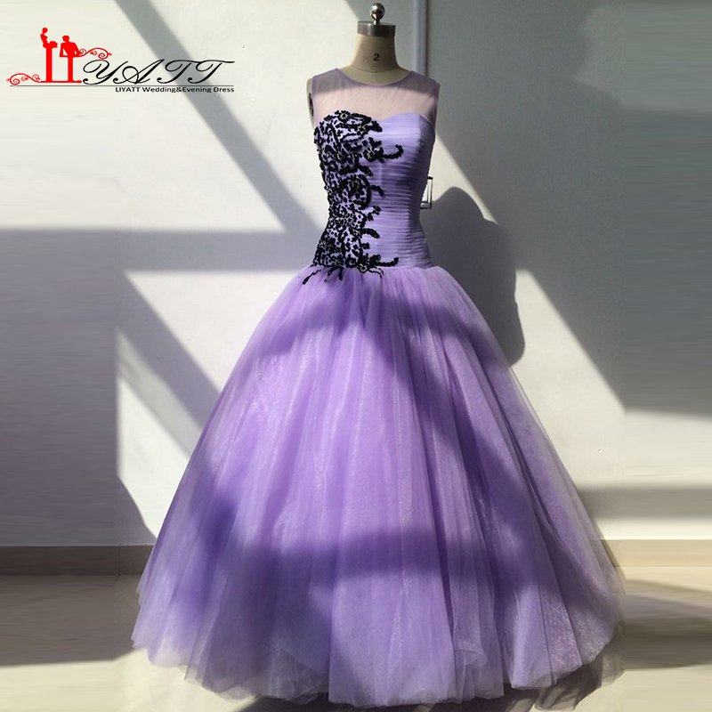 Real Picture 2016 New Cheap Quinceanera Dresses O-neck Beads Light Purple Lilac Ball Gown Luxury Elegance Liyatt