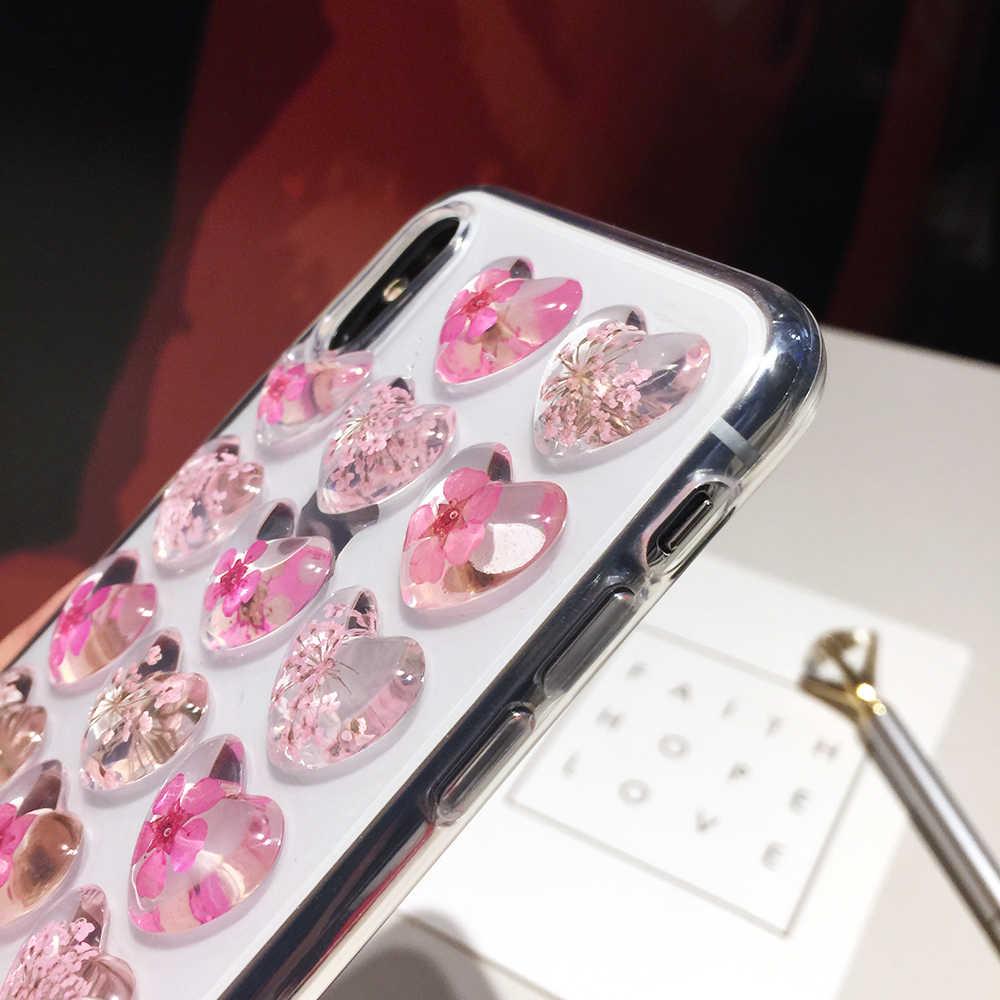 Qianliyao Vintage 3D Cuore Reale fiori Cassa Del Telefono per iphone X XS Max XR Caso Molle di TPU per iphone 6 6s 7 8 plus capa