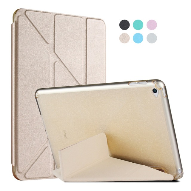 Luxury Folded Magnetic Tablet Case for iPad Air 2 Air2 Bling Glitter Gel TPU Back Cover + Leather Flip Case for iPad Air 2 Air2